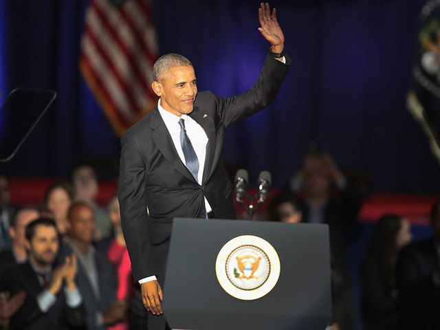 Obama focues on leadership at 1st event since leaving office