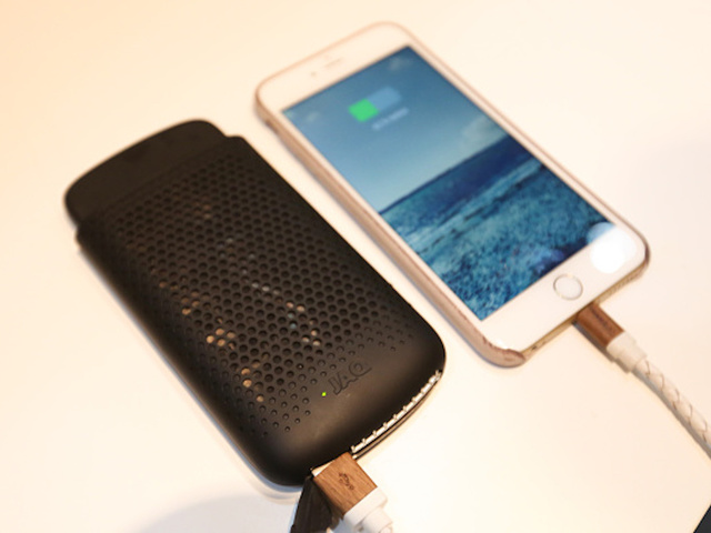 A JAQ Fuel Cell Charger, Manufactured By MyFuelCell, Sits On Display  Charging An Apple Inc. IPhone At The Mobile World Congress In Barcelona,  Spain, ...