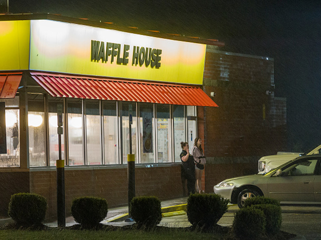 biloxims october 7 2017 waffle house employees take a smoke break at their restaurant which sits 75 feet from the beach as the eye of hurricane nate - What Restaurant Are Open On Christmas