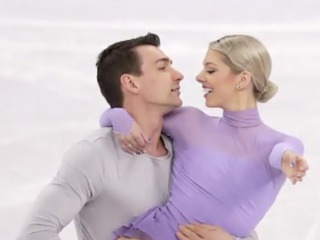 Couple skates together on Valentine's Day