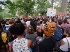 Protesters knock down Confederate statue